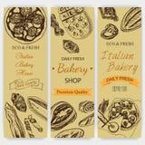 Schizzo dell'illustrazione di vettore pane, pagnotta, baguette, focaccia, pizza casa italiana del forno Immagine Stock Libera da Diritti