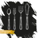 Schizzo dell'illustrazione di vettore - stoviglie dinnerware Immagine Stock