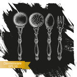 Schizzo dell'illustrazione di vettore - stoviglie dinnerware Fotografie Stock Libere da Diritti