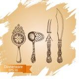 Schizzo dell'illustrazione di vettore - stoviglie dinnerware Fotografie Stock
