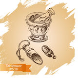 Schizzo dell'illustrazione di vettore - stoviglie dinnerware Immagini Stock