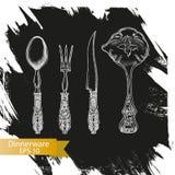 Schizzo dell'illustrazione di vettore - stoviglie dinnerware Fotografia Stock