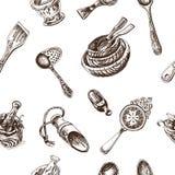 Schizzo dell'illustrazione di vettore - stoviglie dinnerware Immagine Stock Libera da Diritti