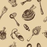 Schizzo dell'illustrazione di vettore - stoviglie dinnerware Fotografia Stock Libera da Diritti