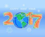 Schizzo dell'immagine a colori del profilo del buon anno Immagine Stock