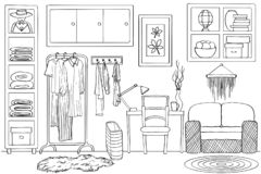 Schizzo dell'interno vivente della stanza del guardaroba, in bianco e nero Royalty Illustrazione gratis