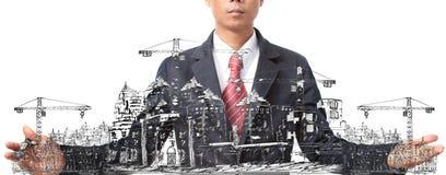 Schizzo dell'uomo della costruzione di edifici sul bianco Fotografia Stock