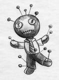 Schizzo della bambola di voodoo dell'uomo d'affari Fotografie Stock Libere da Diritti