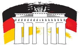 Schizzo della bandiera e portone tedeschi di Brandenburger, materiale illustrativo di vettore Fotografie Stock