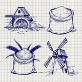Schizzo della borsa del mulino, del grano e della farina illustrazione vettoriale