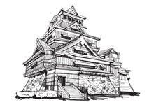 Schizzo della carta bianca di fama mondiale: Castello Giappone di Kumamoto illustrazione di stock