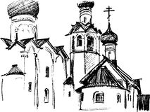 Schizzo della chiesa Immagini Stock