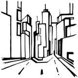 Schizzo della città Immagini Stock Libere da Diritti