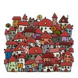 Schizzo della città di autunno, fondo per la vostra progettazione Immagini Stock