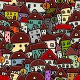 Schizzo della città, modello senza cuciture per la vostra progettazione Fotografia Stock