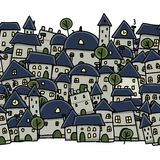 Schizzo della città, modello senza cuciture per la vostra progettazione Immagini Stock Libere da Diritti