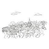 Schizzo della città Paesaggio urbano di scarabocchio illustrazione di stock