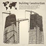 Schizzo della costruzione di edifici Immagini Stock Libere da Diritti