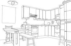 Schizzo della cucina Immagine Stock