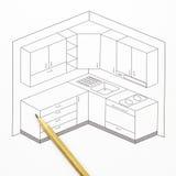 Schizzo della cucina Fotografie Stock