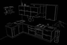 Schizzo della cucina d'angolo moderna Illustrazione a mano libera Linee bianche su fondo nero Immagine Stock Libera da Diritti