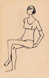 Schizzo della figura ragazza illustrazione di stock