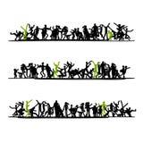 Schizzo della folla della gente per la vostra progettazione Immagini Stock Libere da Diritti