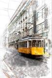 Schizzo della linea tranviaria di Lisbona illustrazione vettoriale