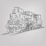 Schizzo della locomotiva di vettore royalty illustrazione gratis