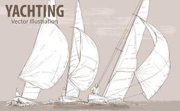 Schizzo della mano di regata degli yacht di navigazione Corse nel mare Illustrazione di sport di vettore Siluetta grafica degli y royalty illustrazione gratis