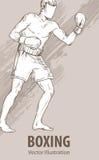 Schizzo della mano di un uomo di pugilato Illustrazione di sport di vettore Siluetta grafica dell'atleta su fondo royalty illustrazione gratis