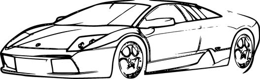 Schizzo della matita dell'automobile sportiva Fotografia Stock