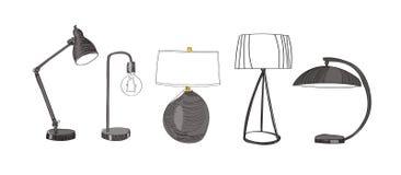 Schizzo della matita raccolta di progettazione della lampada da tavolo su fondo bianco Illustrazione della mano Immagini Stock