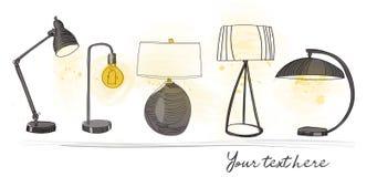 Schizzo della matita raccolta di progettazione della lampada da tavolo su fondo bianco Illustrazione della mano Fotografie Stock