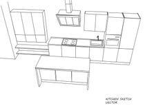 Schizzo della mobilia della cucina Immagine Stock