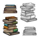 Schizzo della pila di libro per istruzione, progettazione della letteratura illustrazione di stock