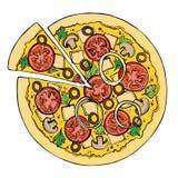 Schizzo della pizza Alimenti a rapida preparazione Fotografia Stock Libera da Diritti