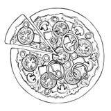 Schizzo della pizza Alimenti a rapida preparazione Vettore Immagine Stock