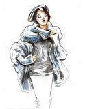 Schizzo della ragazza che dura in vestiti di inverno Fotografia Stock