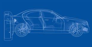 Schizzo della stazione di carico del veicolo elettrico royalty illustrazione gratis