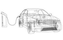 Schizzo della stazione di carico del veicolo elettrico illustrazione vettoriale
