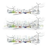 Schizzo della strada di traffico in città per la vostra progettazione Fotografie Stock Libere da Diritti