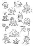 Schizzo delle case di vettore del fumetto. Fotografia Stock