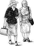 Schizzo delle donne anziane su una passeggiata Fotografia Stock Libera da Diritti