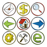 Schizzo delle icone di Web. Immagine Stock Libera da Diritti