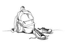 Schizzo delle scarpe da tennis e dello zaino Vestiti per viaggiare illustrazione di stock