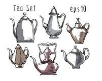 Schizzo delle teiere, della tazza e dei piatti fatti nello stile divertente Fotografie Stock
