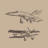 Schizzo di Airplaine Illustrazione disegnata a mano per la vostra progettazione Fotografia Stock