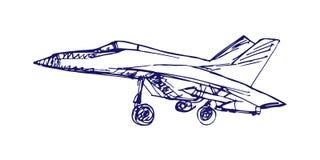 Schizzo di Airplaine Illustrazione disegnata a mano per la vostra progettazione Fotografie Stock