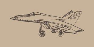 Schizzo di Airplaine Illustrazione disegnata a mano per la vostra progettazione Immagine Stock